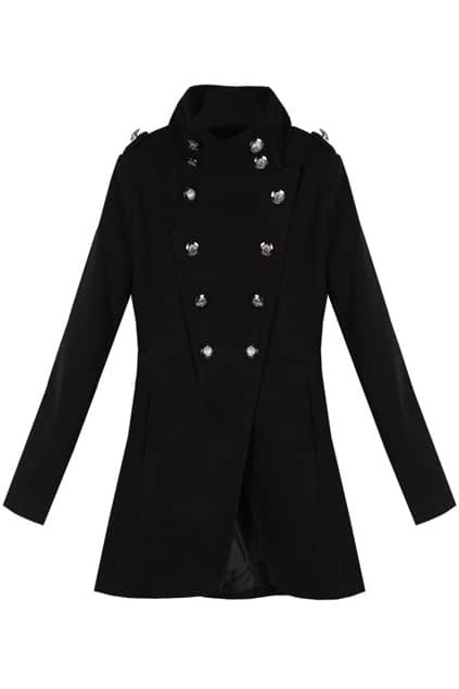 Double Breasted  Band Collar Black Coat