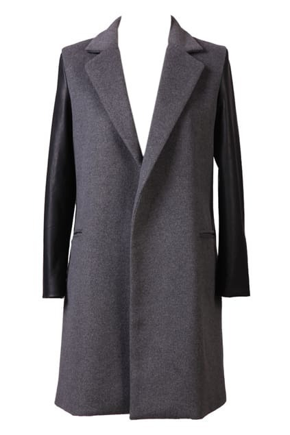 Retro Lapel Grey Woolen    Coat