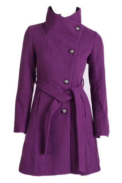Large Lapel Single Breasted Purple Coat