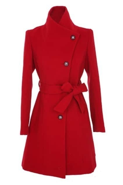 Large Lapel Single Breasted Red Coat