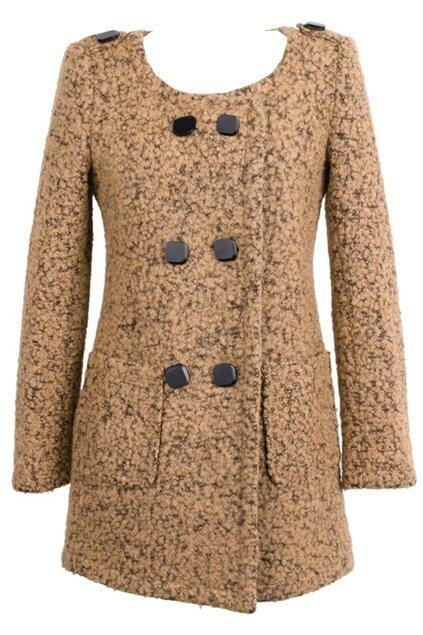 Scoop Neck Double Breasted Khaki Coat