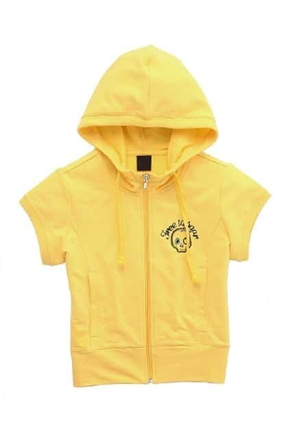 Skull Short Sleeves Yellow Hoodie