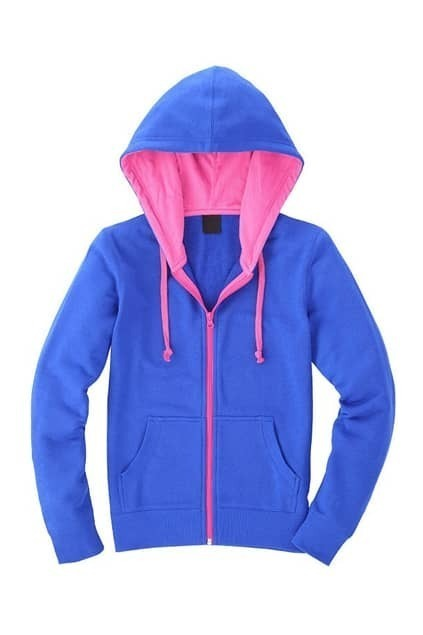 Royalblue And Pink Color Contrast Hoodie