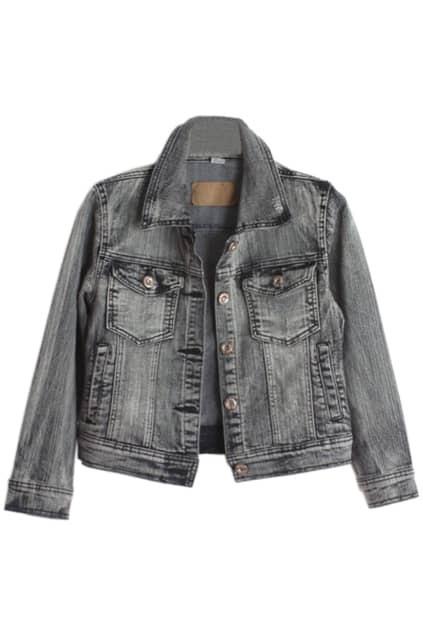 Elastic Long Sleeve Black-grey Coat