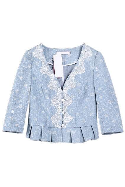 Single-breasted Lace Blue Coat