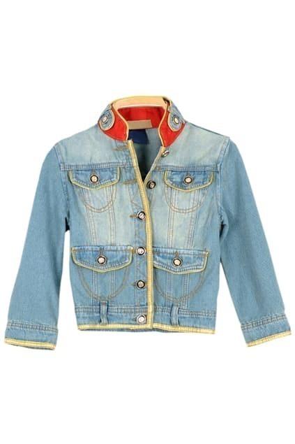 Band Collar Half Sleeve Blue Coat