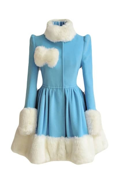 White And Blue Woolen Coat