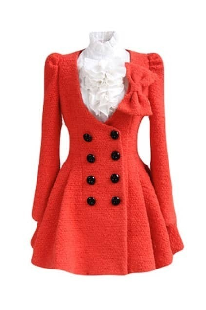 Double Buttons Bowknot Red Woolen Coat