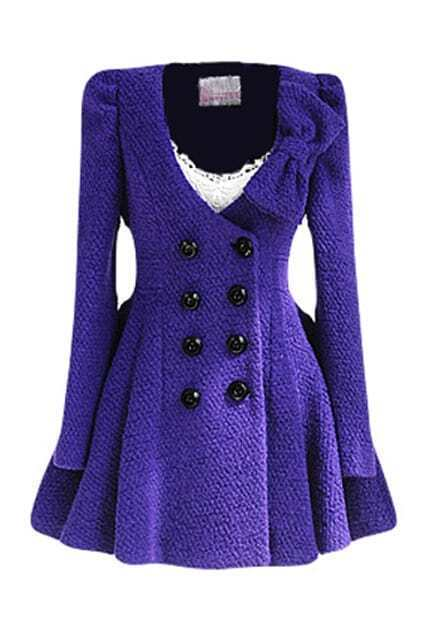 Double Buttons Bowknot Purple Woolen Coat
