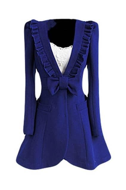 Falbala Bowknot Blue Woolen Coat