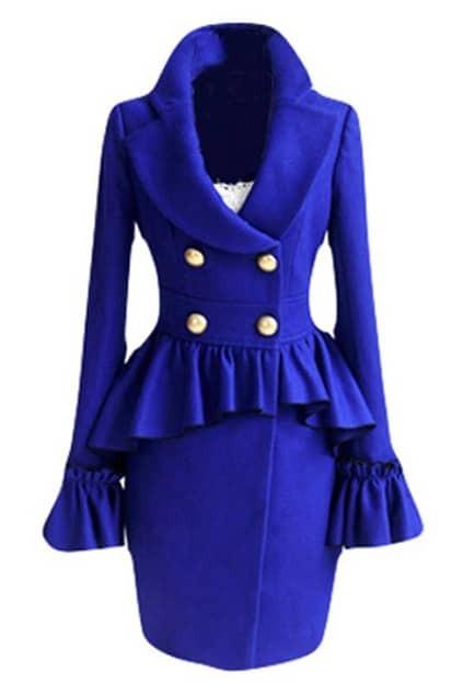 Falbala Hem Blue Bowknot Coat