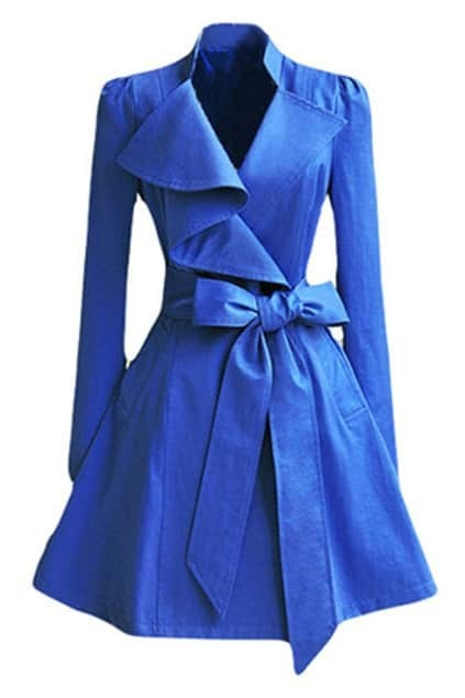 Irregular Lapel Blue Trench Coat