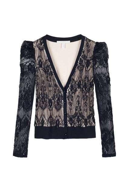 Lace Crochet Black Coat