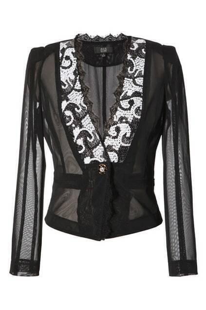 Retro One Button Black Embroidery Coat