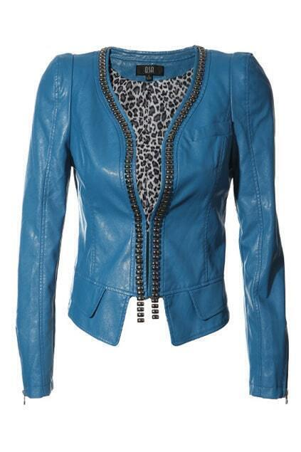 Concealed Zip Blue Short Coat