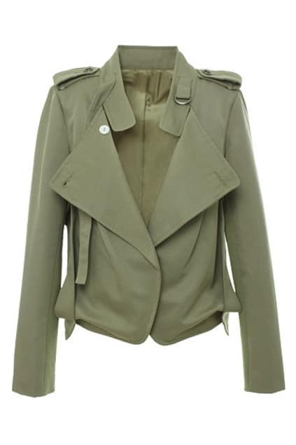 Wide Lapel Slim Army-green Trench Coat