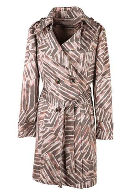 Double Breasted Coffee Stripe Trench Coat
