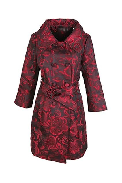 Double Collar Black-red Trench Coat