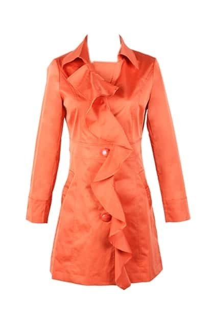 Flouncing Orange Trench Coat