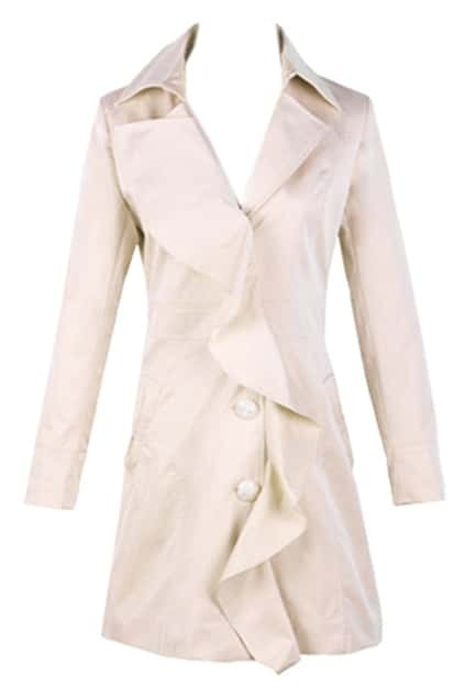 Flouncing Cream Trench Coat