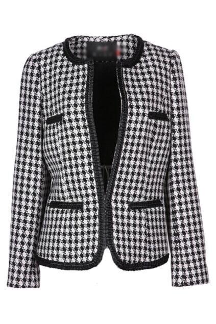 Metal Chains Black-white Lattice Short Coat