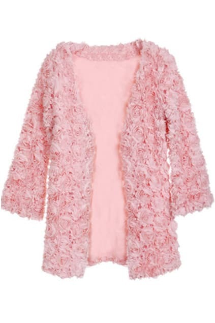 Rose Embroidered Pink Coat