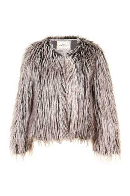 Scoop Neck Grey Fur Coat
