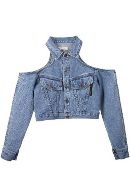 Cold Shoulder Blue Denim Coat