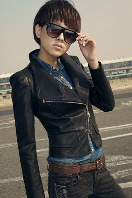 Cropped Slim Fit Black PU Jacket