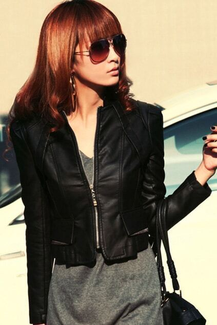 Cropped Fit Black PU Jacket