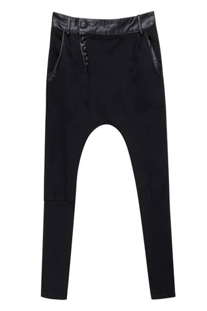Buttons-tied Punk Styling Black Harem Pants