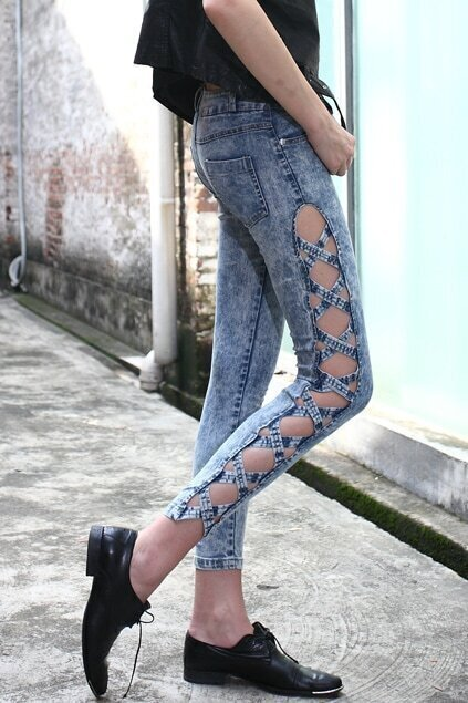 Cut-out Sides Skinny Jeans