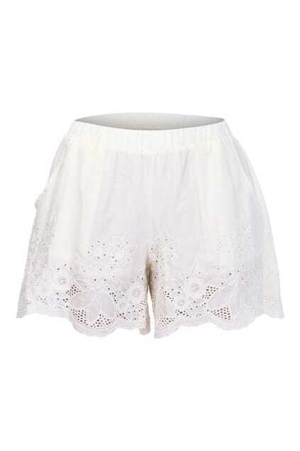 Crochet Lace Cream Shorts