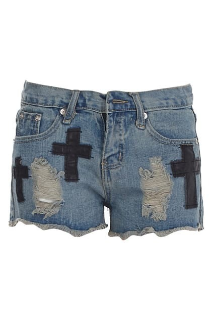 Cross Detailed Distressed Shorts