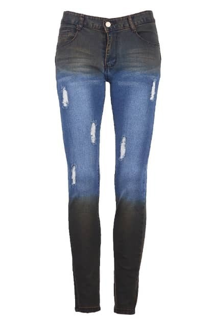 Distressed Dip Dye Jeans