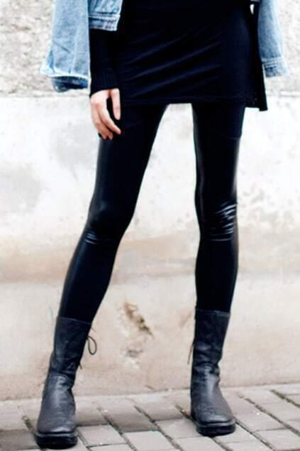 Leather Block Tight Black Legging