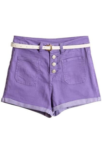 Turn-up Cuffs Violet Belted Shorts