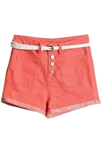 Turn-up Cuffs Pink Belted Shorts