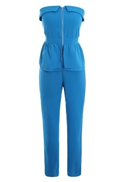 High Waist Tube Blue Jumpsuit