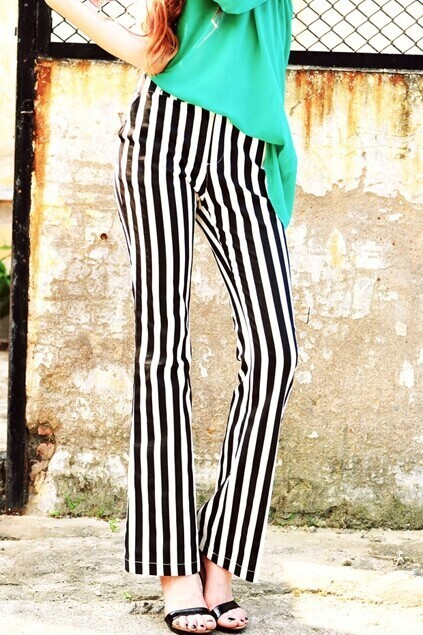 Leisure Style Breathable Striped Black-white Pants