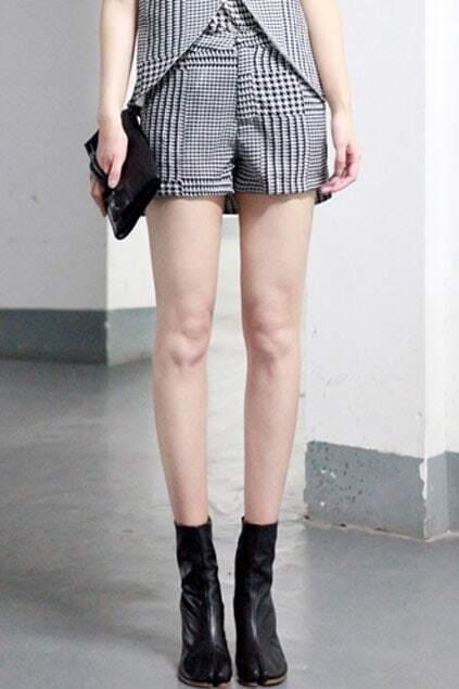 Irregular Hem Houndstooth Short Culottes