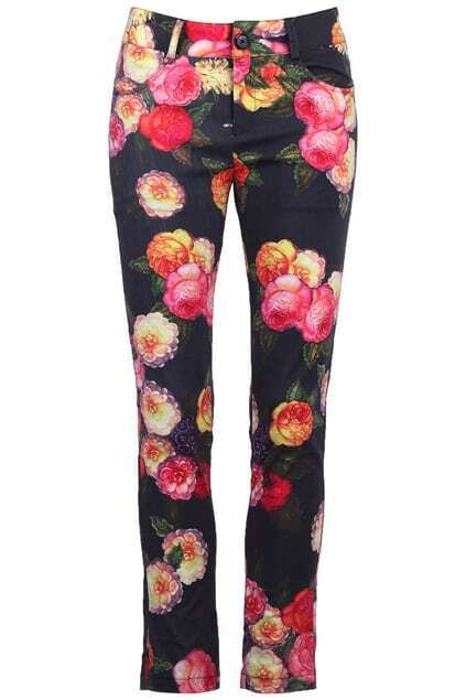 Rose Print Black Pants