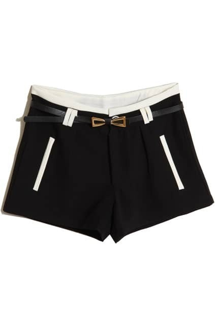 Color Block Belted Shorts