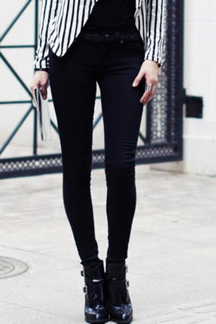Regular-rise Waist Black Slim Pants
