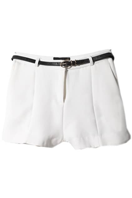 Casual Style Pleated White Shorts
