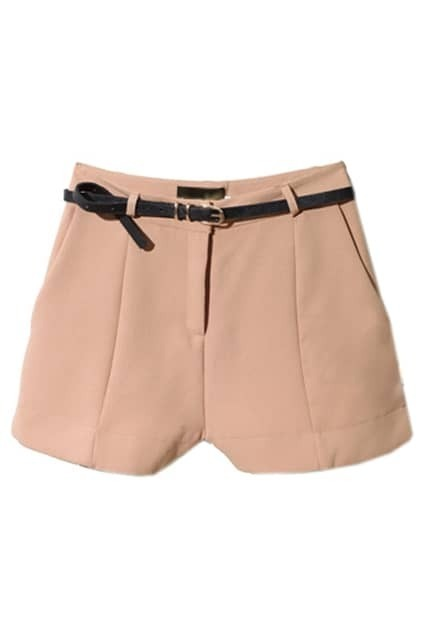 Casual Style Pleated Nude-pink Shorts