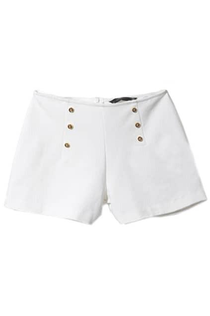Metallic Double-breasted Embellished White Shorts