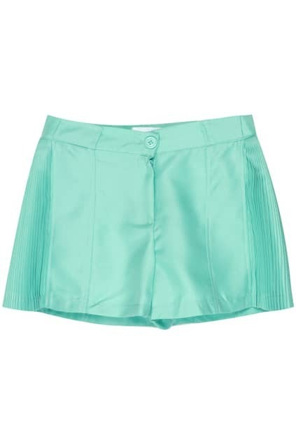 Pleated Sides Candy Green Shorts