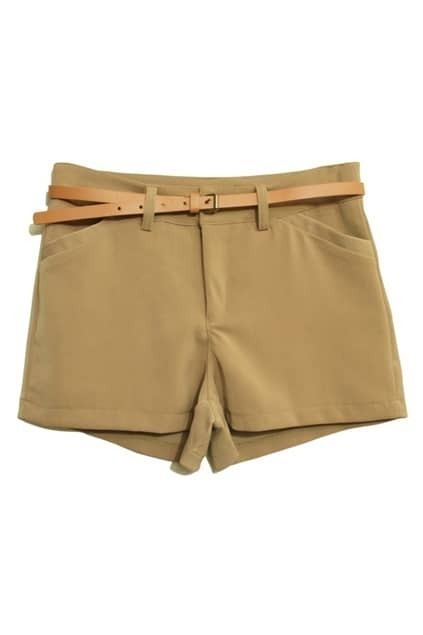 Empire Waist Khaki Chiffon Shorts
