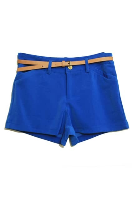 Empire Waist Blue Chiffon Shorts